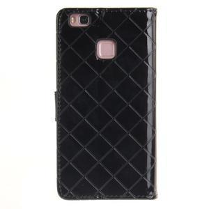 Luxury PU kožené peněženkové pouzdro na Huawei P9 Lite - černé - 2