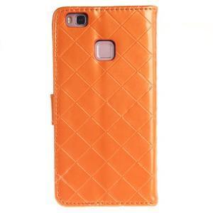 Luxury PU kožené peněženkové pouzdro na Huawei P9 Lite - oranžové - 2