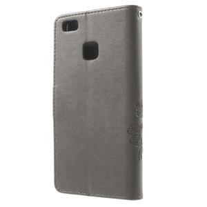 Cloverleaf peněženkové pouzdro s kamínky na Huawei P9 Lite - šedé - 2