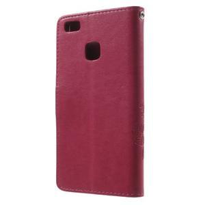 Cloverleaf peněženkové pouzdro s kamínky na Huawei P9 Lite - rose - 2