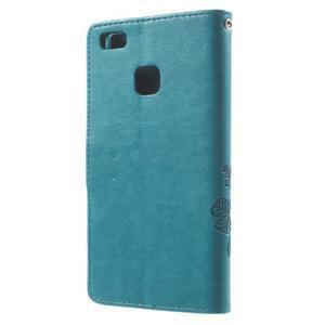Cloverleaf peněženkové pouzdro s kamínky na Huawei P9 Lite - modré - 2