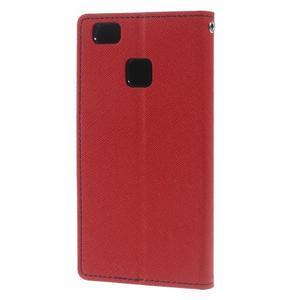 Diary PU kožené pouzdro na telefon Huawei P9 Lite - červené - 2