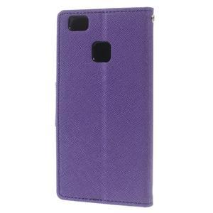 Diary PU kožené pouzdro na telefon Huawei P9 Lite - fialové - 2