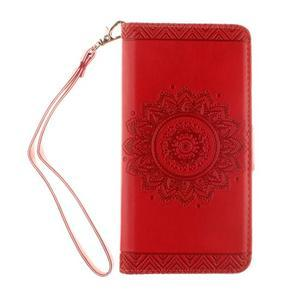 Mandala PU kožené pouzdro na Huawei P9 Lite - červené - 2