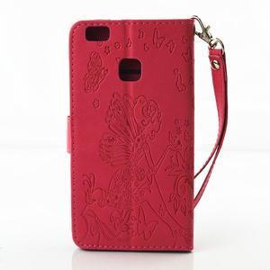 Víla PU kožené pouzdro s kamínky na Huawei P9 Lite - červené - 2
