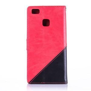 Duocolory PU kožené pouzdro na Huawei P9 Lite - červené/černé - 2