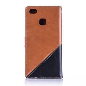 Duocolory PU kožené pouzdro na Huawei P9 Lite - hnědé/černé - 2