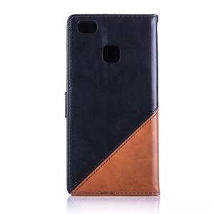 Duocolory PU kožené pouzdro na Huawei P9 Lite - černé/hnědé - 2