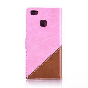 Duocolory PU kožené pouzdro na Huawei P9 Lite - růžové/hnědé - 2