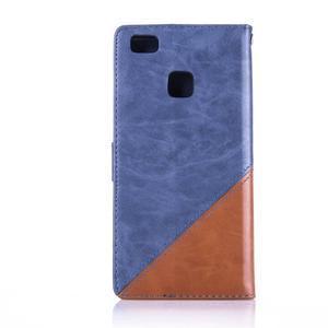 Duocolory PU kožené pouzdro na Huawei P9 Lite - modré/hnědé - 2