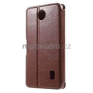 Hnědé PU kožené pouzdro na Huawei Y635 - 2