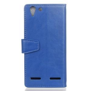 Knížkové PU kožené pouzdro na Lenovo Vibe K5 / K5 Plus - modré - 2