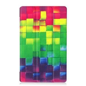 Trifold PU kožené pouzdro na Lenovo Tab 2 A8-50 - 3D kostky - 2