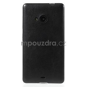 Ultra tenký kryt s jemnými koženkovými zády Microsoft Lumia 535 - černý - 2