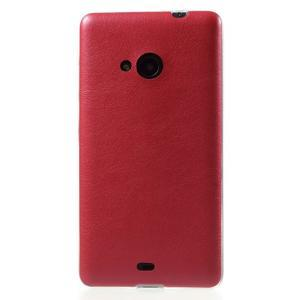 Ultra tenký kryt s jemnými koženkovými zády Microsoft Lumia 535 - červené - 2