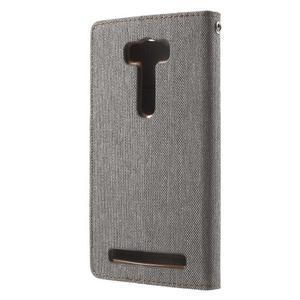 Canvas textilní/PU kožené pouzdro na Asus Zenfone 2 Laser - šedé - 2