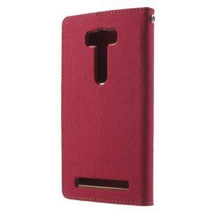 Canvas textilní/PU kožené pouzdro na Asus Zenfone 2 Laser - červené - 2