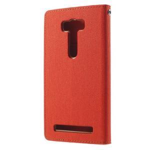 Canvas textilní/PU kožené pouzdro na Asus Zenfone 2 Laser - oranžové - 2
