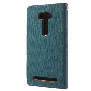 Canvas textilní/PU kožené pouzdro na Asus Zenfone 2 Laser - zelenomodré - 2
