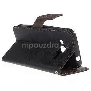 Černé/hnědé peněženkové pouzdro na Samsung Galaxy Core Prime - 2