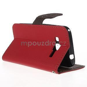 Červené/hnědé peněženkové pouzdro na Samsung Galaxy Core Prime - 2
