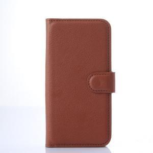 PU kožené peněženkové pouzdro na Samsung Galaxy E5 - hnědé - 2