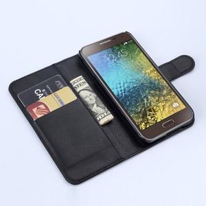 PU kožené peněženkové pouzdro na Samsung Galaxy E5 - černé - 2