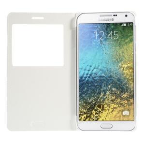 PU kožené pěněženkové pouzdro s okýnkem Samsung Galaxy E5 - bílé - 2