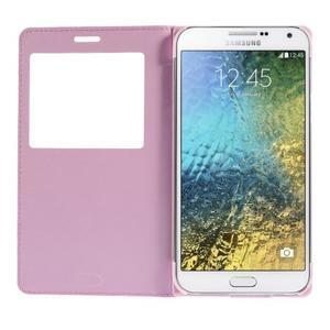 PU kožené pěněženkové pouzdro s okýnkem Samsung Galaxy E5 - růžové - 2