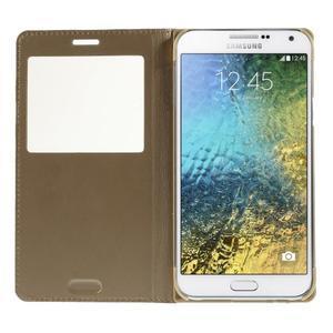 PU kožené pěněženkové pouzdro s okýnkem Samsung Galaxy E5 - zlaté - 2