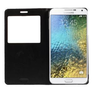 PU kožené pěněženkové pouzdro s okýnkem Samsung Galaxy E5 - černé - 2