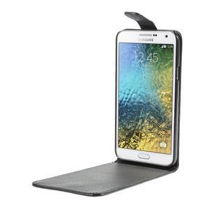 Černé flipové PU kožené pouzdro na Samsung Galaxy E7 - 2