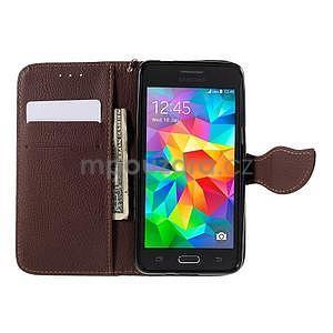 Černé/hnědé zapínací peněženkové pouzdro na Samsung Galaxy Grand Prime - 2