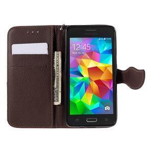 Červené/hnědé zapínací peněženkové pouzdro na Samsung Galaxy Grand Prime - 2