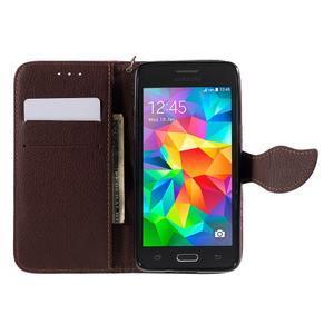 Rose/hnědé zapínací peněženkové pouzdro na Samsung Galaxy Grand Prime - 2