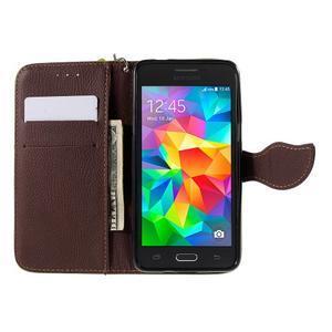 Zelené/hnědé zapínací peněženkové pouzdro na Samsung Galaxy Grand Prime - 2