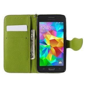 Hnědé/zelené zapínací peněženkové pouzdro na Samsung Galaxy Grand Prime - 2