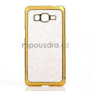 Luxusní kryt se zlatým lemem na Samsung Grand Prime - bílý - 2