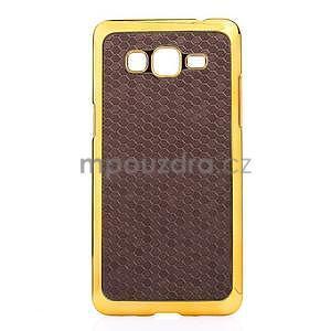 Luxusní kryt se zlatým lemem na Samsung Grand Prime - hnědý - 2