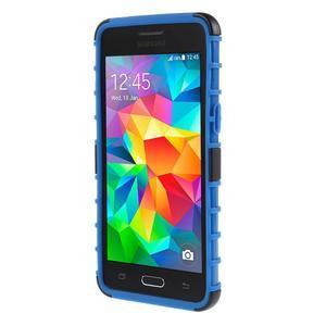 Vysoce odolný kryt se stojánkem na Samsung Galaxy Grand Prime - modrý - 2