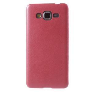 Ultratenký gelový kryt s imitací kůže na Samsung Grand Prime - červený - 2