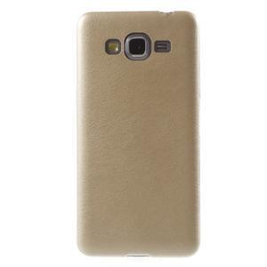 Ultratenký gelový kryt s imitací kůže na Samsung Grand Prime - zlatý - 2