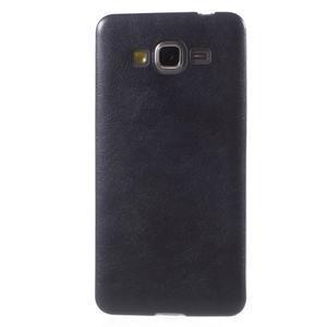 Ultratenký gelový kryt s imitací kůže na Samsung Grand Prime - tmavě modrý - 2