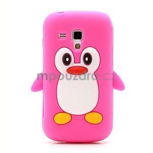 Silikonový obal tučňák na Samsung Galaxy S Duos - rose - 2