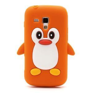 Silikonový obal tučňák na Samsung Galaxy S Duos - oranžový - 2