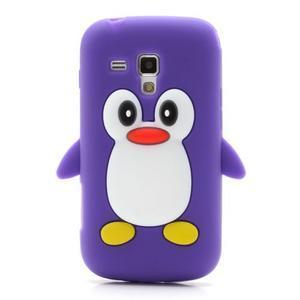 Silikonový obal tučňák na Samsung Galaxy S Duos - fialový - 2