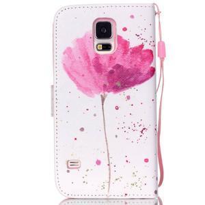 Knížkové PU kožené pouzdro na Samsung Galaxy S5 - makový květ - 2