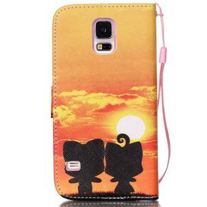 Knížkové PU kožené pouzdro na Samsung Galaxy S5 - západ slunce - 2