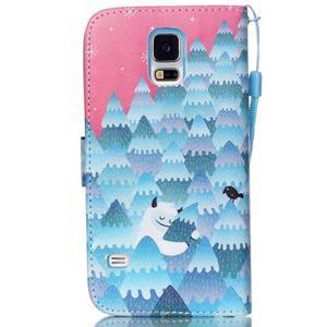 Knížkové PU kožené pouzdro na Samsung Galaxy S5 - sněžný muž - 2