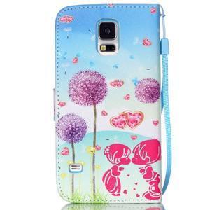 Knížkové PU kožené pouzdro na Samsung Galaxy S5 - láska - 2